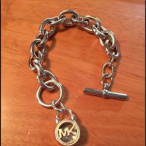 Michael Kors gold-tone chain bracelet with MK logo